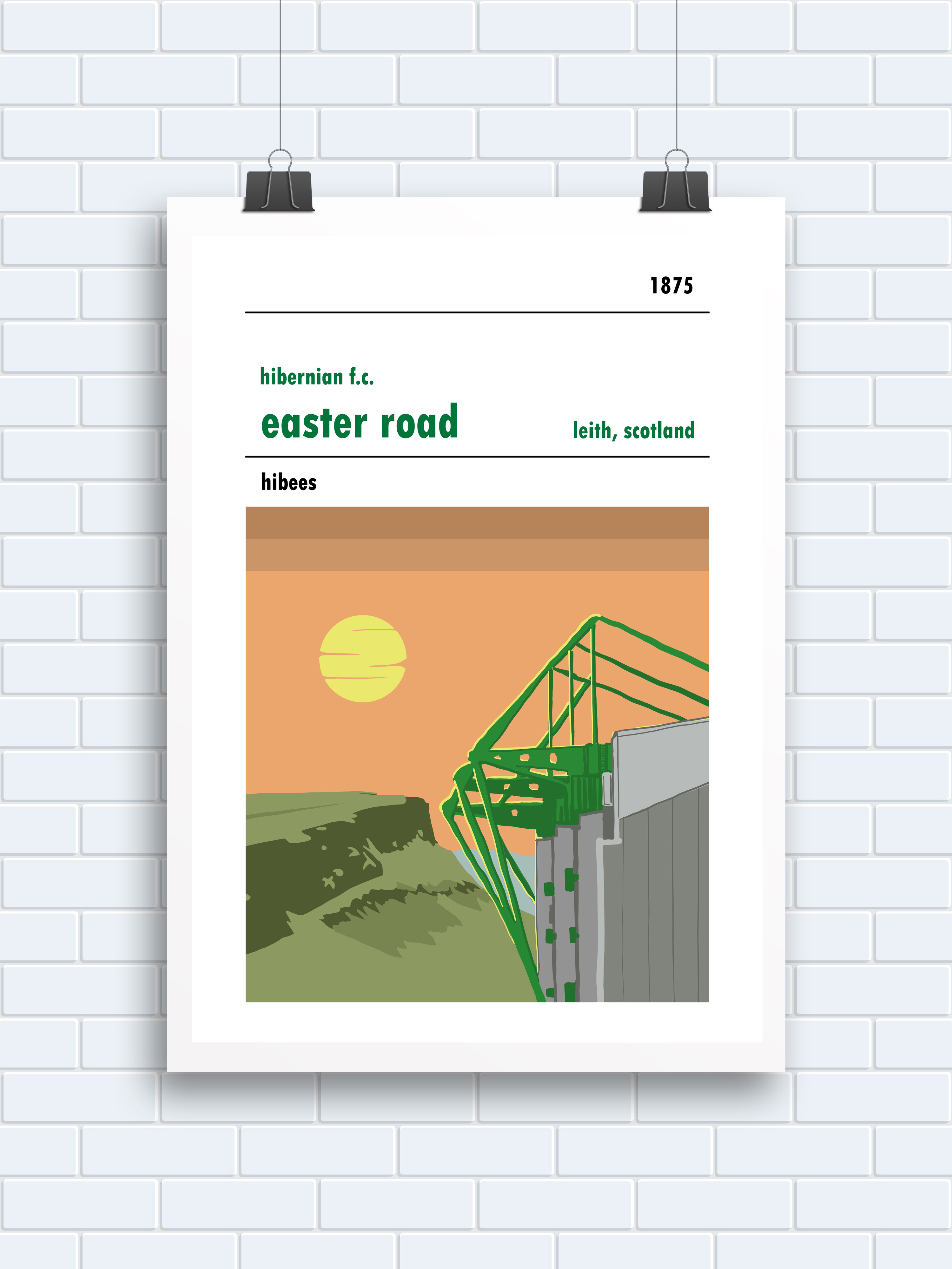 The sunshine on Easter Road, Leith, Hibs poster