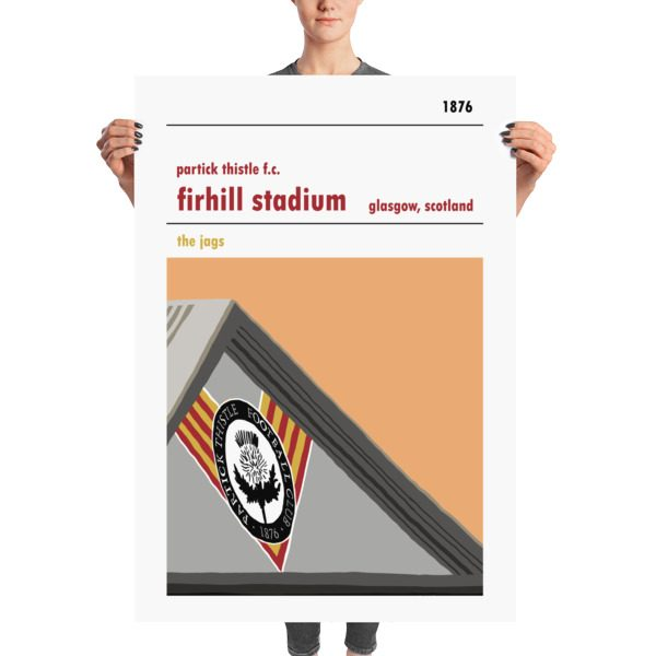 A huge stadium poster of Firhill, home to Partick Thistle