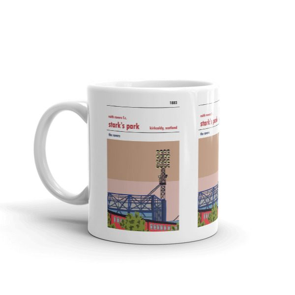 A coffee mug of the trainline at Stark's Park and Raith Rovers