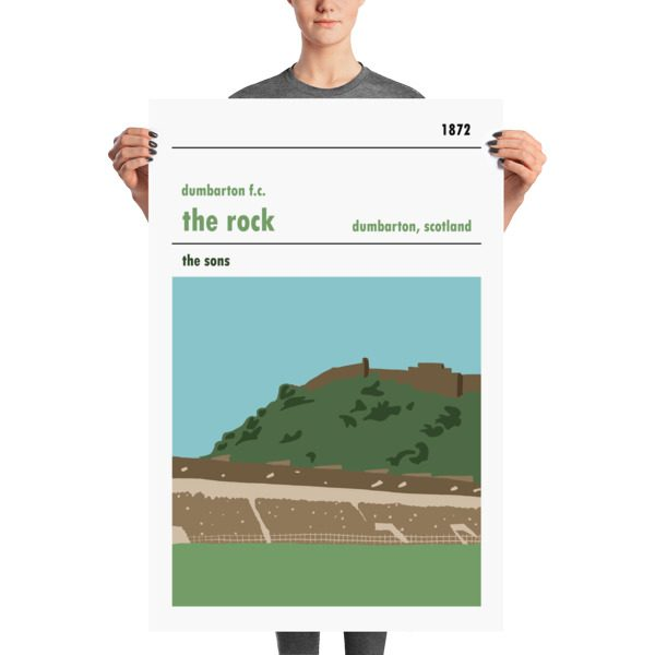 A huge football poster of the Rock and Dumbarton FC