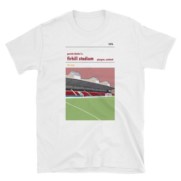 A Partick Thistle t shirt of the John Lambie Stand at Firhill