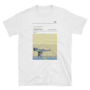 A t-shirt of Cappielow, home to Greenock Morton FC, showing the ship building crane on the Clyde River