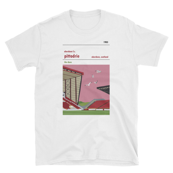 A t shirt of the Dick Donald stand at Pittodrie and Seagulls. Aberdeen FC.