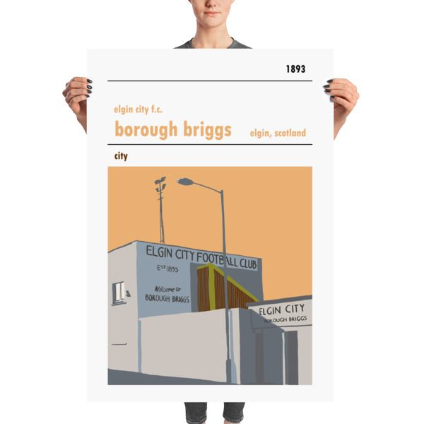 A massive football poster of Borough Briggs and Elgin City FC