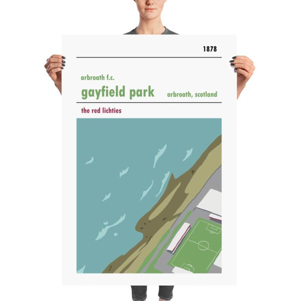 A stadium print poster of Arbroath FC and their home ground of Gayfield Park. The Red Lichties. Massive