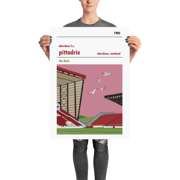 A stadium print poster of Aberdeen FC and their home ground of Pittodrie. The Dons. Large