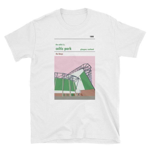 A t shirt of Celtic PArk showing the Lisbon Lions stand. Celtic FC