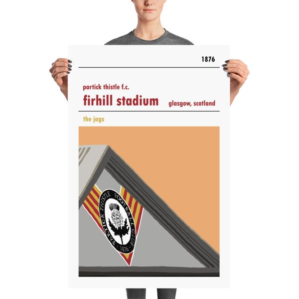 A large Scottish stadium print of Firhill, home to Partick Thistle FC. The Jags