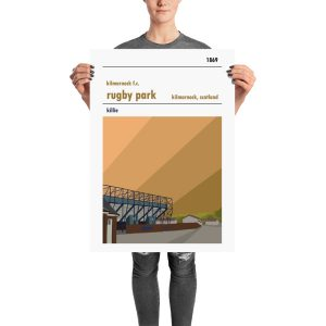 A large football poster of Rugby Park and Kilmarnock FC