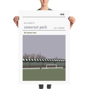 A massive football poster of Somerset Park, home of Ayr United FC