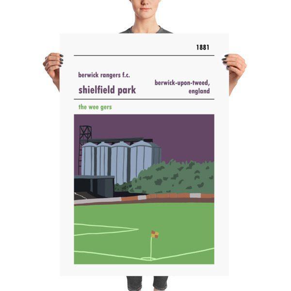 A massive stadium poster of Shielfield Park, Berwick Rangers FC