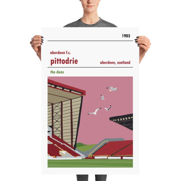 A stadium print poster of Aberdeen FC and their home ground of Pittodrie. The Dons. Huge