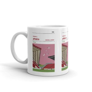 A coffee mug of Pittodrie. Home to Aberdeen FC. The dons.