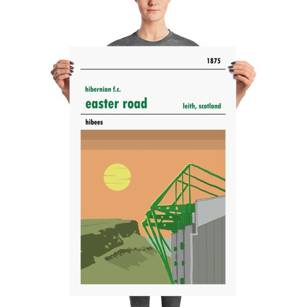 A large Hibernian stadium poster of Easter Road, Sunshine on Leith, home to Hibs