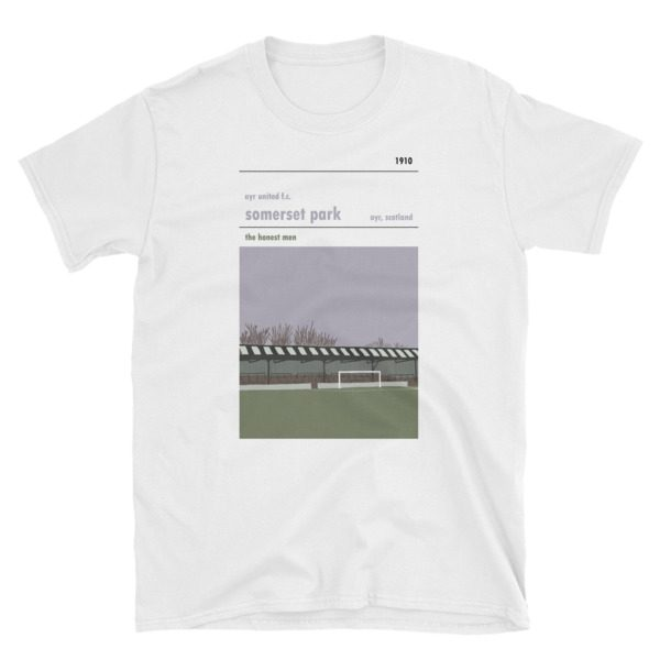 A white t-shirt of Somerset Park and Ayr United F.C.
