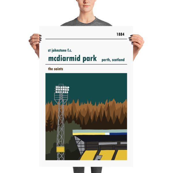 A huge football poster of St Johnstone and McDiarmid Park