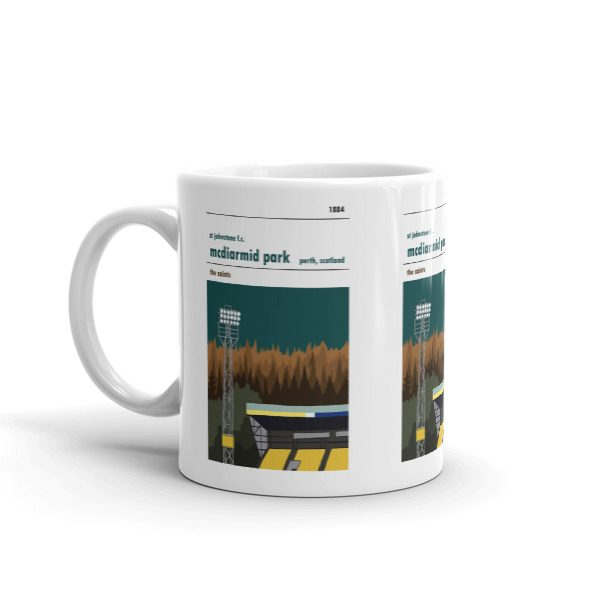 A coffee mug of St Johnstone FC and McDiarmid Park