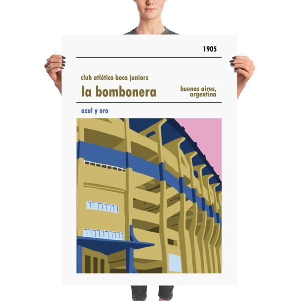 A huge stadium poster of La Bombonera, home to Boca Juniors