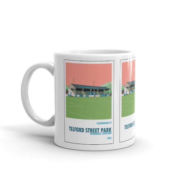 A coffee mug of Caledonian FC and Telford Street Park