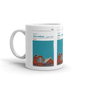 A coffee mug of Ibrox stadium, home of Rangers FC