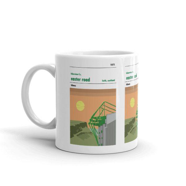 A coffee mug of Hibs FC and Easter Road Stadium