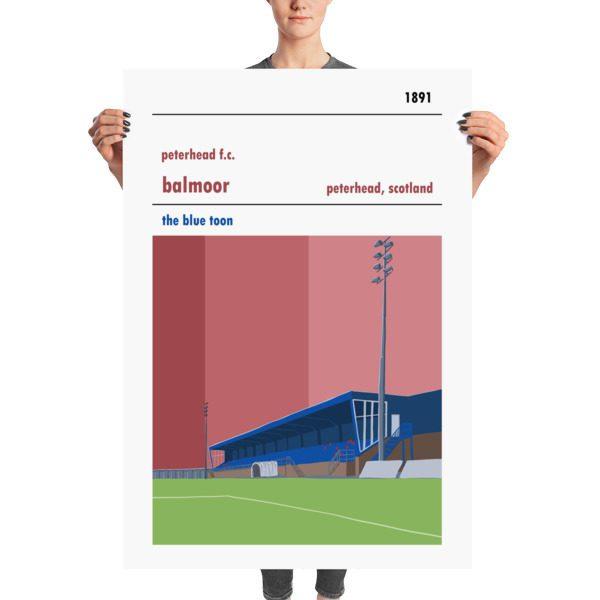 Huge football poster of Peterhead FC and Balmoor Stadium
