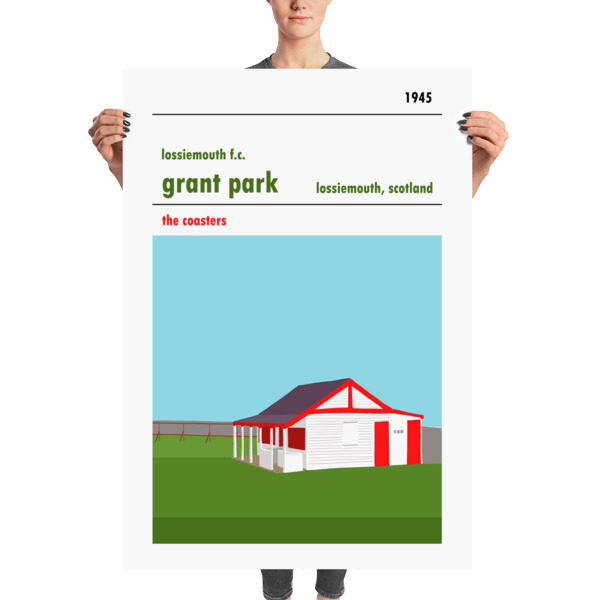A huge football poster of Lossiemouth FC and Grant Park