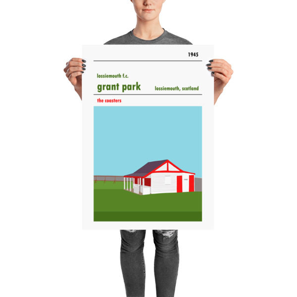 A retro football poster of Lossiemouth FC and Grant Park