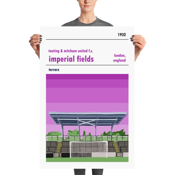 A large football poster of Tooting & Mitcham and Imperial Fields