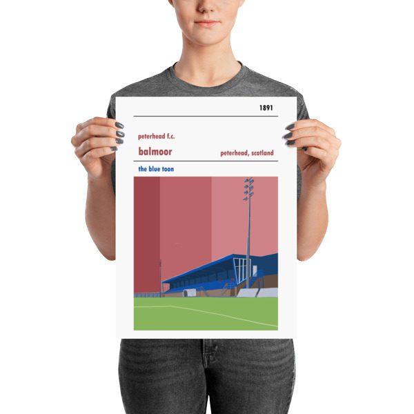 A medium sized stadium poster of Peterhead FC and Balmoor Stadium