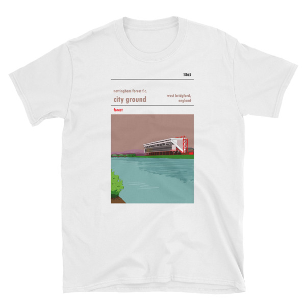 A football t shirt of Nottingham Forest and their stadium, the CIty Ground. Forest.