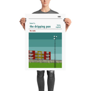 A retro football poster of Lewes FC and the Dripping Pan