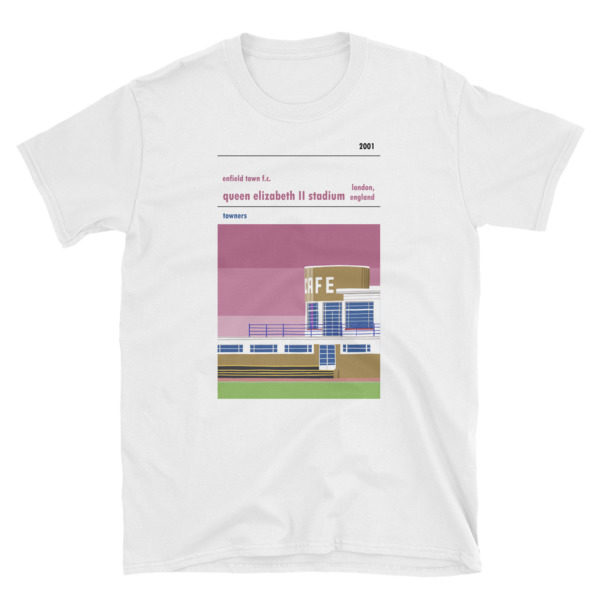 A t-shirt of Enfield Town's QEII stadium on Donkey Lane