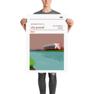 A football poster of Nottingham Forest FC and their home stadium, the City Ground, on the banks of the river Trent.