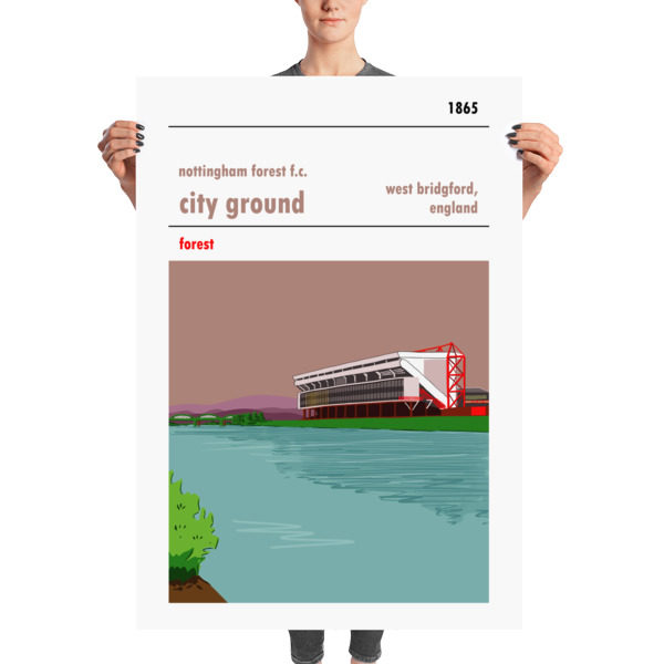 A huge football poster of the City Ground, home to Nottingham Forest FC.