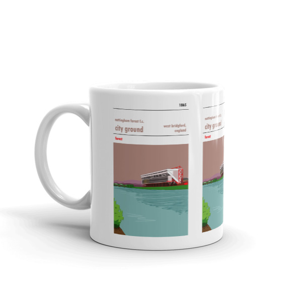 A coffee mug of the City Ground, home to Nottingham Forest. Forest