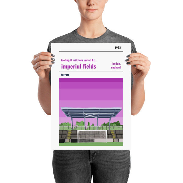 A medium sized football poster of Tooting and Mitcham and Imperial Fields