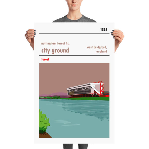 A large stadium poster of Nottingham Forest and the City Ground. From the banks of the river Trent.