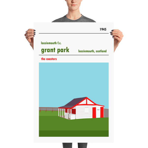 A large football poster of Lossiemouth FC and Grant Park