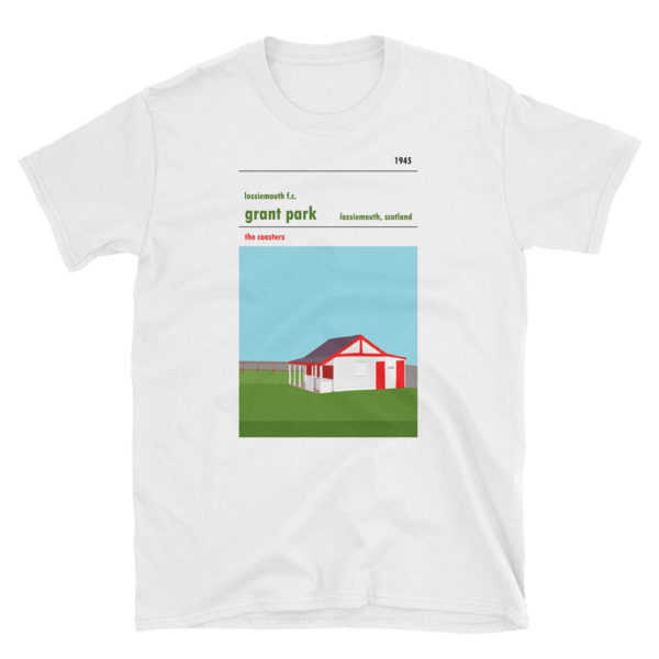 A white retro t shirt of Lossiemouth FC and Grant Park