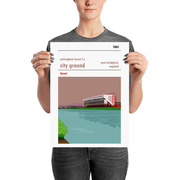 A medium sized football poster of the City Ground, home to Nottingham Forest FC. Forest.