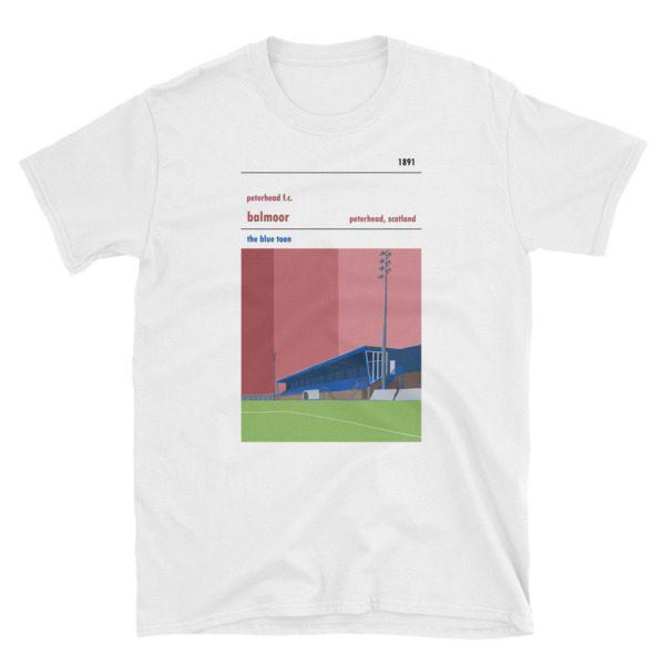 White t shirt of Peterhead FC and Balmoor Stadium