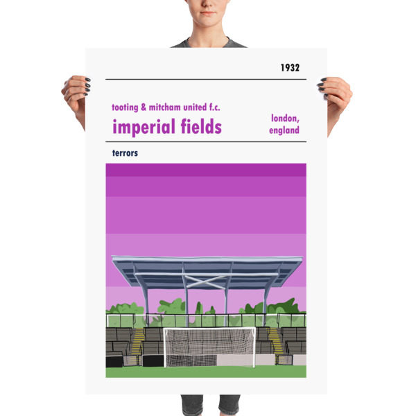 A huge football poster of Tooting & Mitcham and Imperial Fields