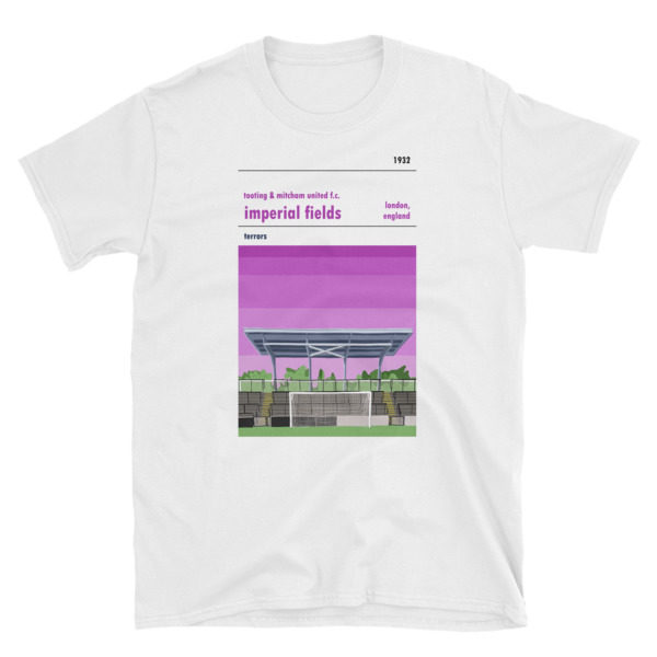 White t shirt of Tooting & Mitcham FC and Imperial Fields