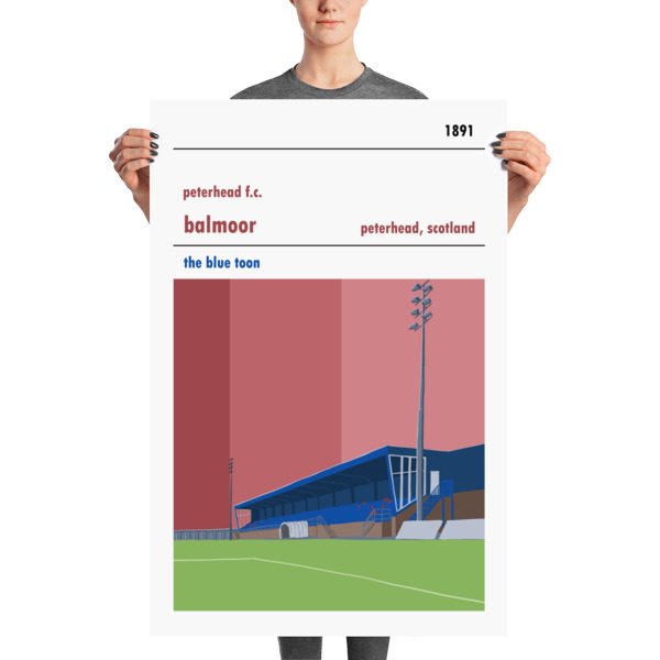 A large football poster of Peterhead FC and Balmoor Stadium