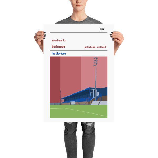 A retro football poster of Peterhead FC and Balmoor Stadium