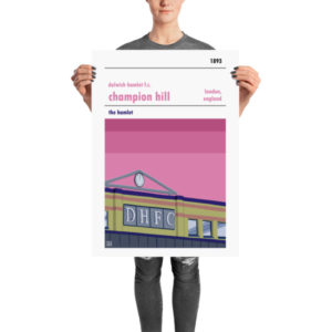A retro football poster of Dulwich Hamlet FC and Champion Hill