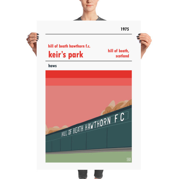 Football poster of Hill of Beath Hawthorn FC and Keir's Park