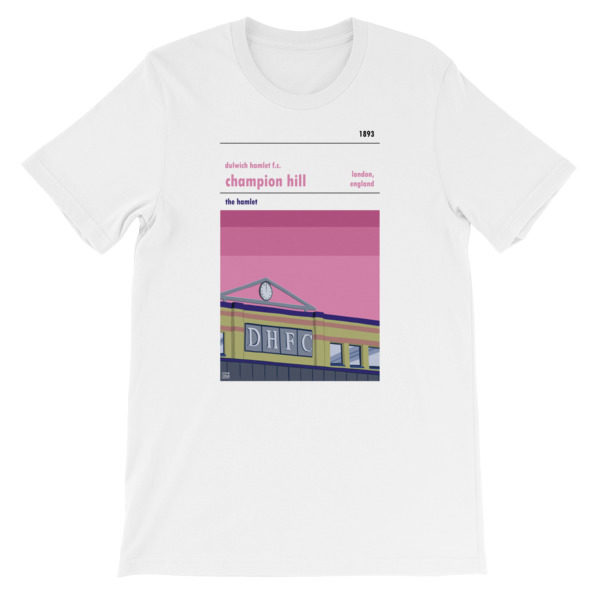 A white t shirt of Dulwich Hamlet FC and Champion Hill