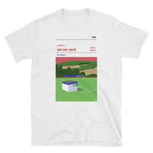 A white Selkirk FC and Yarrow Park t shirt